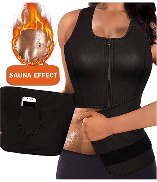 Femmes Néoprène Body Shaper Sauna Costume Gym Workout Débardeur Gilet avec Taille Réglable Formateur Trimmer Ceinture