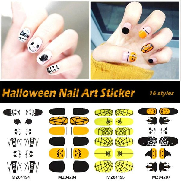 Fashion Cute Patterns Halloween Waterproof Nail Art Sticker Decals Watermark Slider Nail Art Decoration Tattoo Manicure Tools