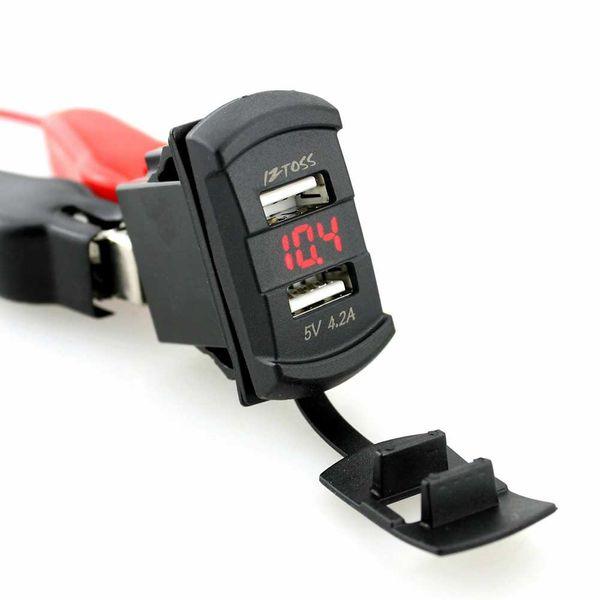 CAR IZTOSS Car Dual USB Charger Socket Plug Rocker Style with Voltmeter Blue LED Light DC12-24V 4.2A