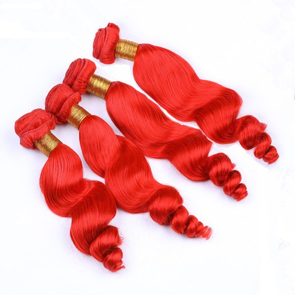 """Bright Red Indian Virgin Human Hair Loose Wave Weave Wefts 4 Bundles Pure Red Loose Wavy Human Hair Extensions Tangle Free 10-30"""""""