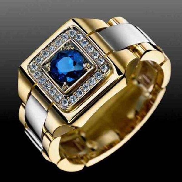 Мужская мода 18-каратного золота круглой огранки природного изумрудного нефрита кольцо уникальный дизайн европейский и американский стиль мужской райдер партии обручальное кольцо
