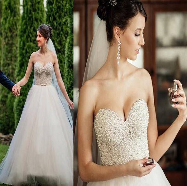 2019 возлюбленной A-Line Свадебные платья Тюль Жемчуг Свадебные платья простой лук створки великолепные свадебные платья сад свадебные платья на заказ