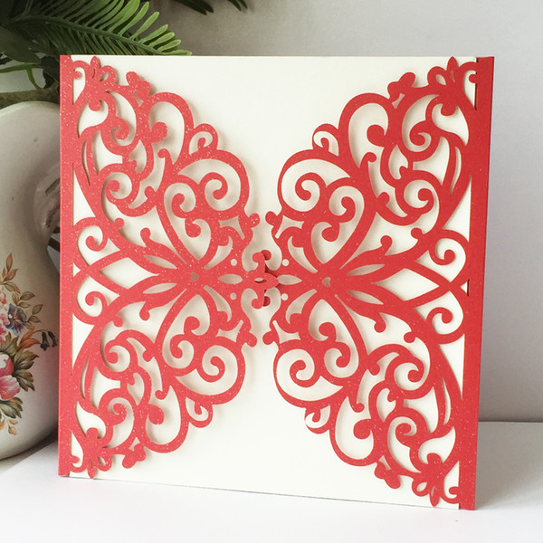 35PCS /lot Luxury Butterfly Envelope Wedding Invitation Cards Unique Design Marriage Anniversary Festival Ceremony Grand Activity Supplies