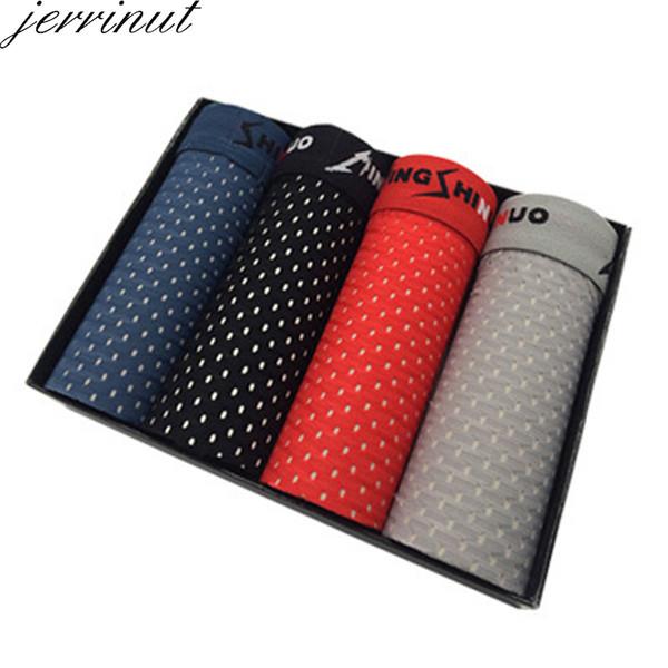jerrinut 4Pcs/lot Plus Size Mens Underwear Boxer Summer Lce Silk Male Boxer Panties Breathable Comfortable Man Boxer Brand SH190906