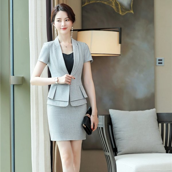 Formal OfficeLadies Grey Blazer Women Business Suits with Skirt and Jacket Sets Work Wear Uniform Business Suits OL Style