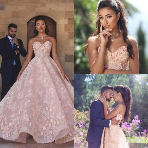 Sweetheart Princess Prom Formal Dresses with Fully Floral Flower Butterfly 2019 Blush Pink Lace Arabic Dubai Occasion Evening Gowns