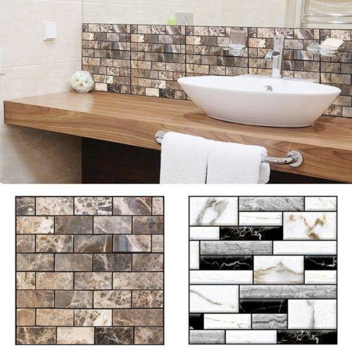 top popular 1 X (30 x 30cm Self Adhesive Tile Wall Sticker 3D Decal DIY Floor Kitchen Home) 2019