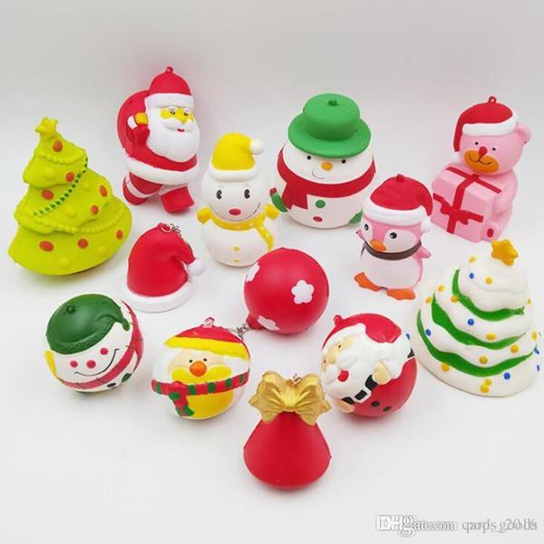Acheter Kawaii Squishy Jouets Mini Squishies Cadeaux De Noël Père Noël Bonhomme De Neige Cadeau Ours Lent Rising Squeeze Dessin Animé Jouet Cadeaux De