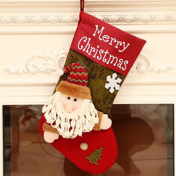 45x29cm Christmas Stocking Gift Bag Reindeer Santa Claus Snowman Socks Natal Xmas Tree Candy Ornament Gifts Decorations New Year