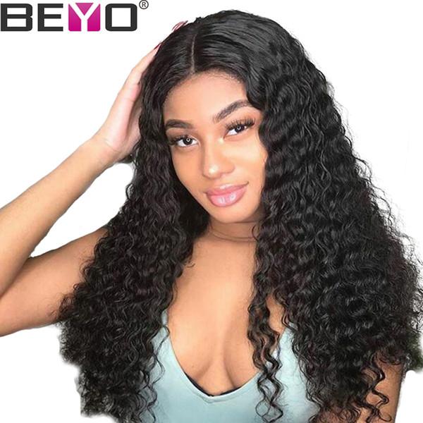 Indian Water Wave 13X6 Lace Front pelucas de cabello humano para mujer negra pelucas de encaje con el pelo del bebé natural rayita 150% Remy Beyo