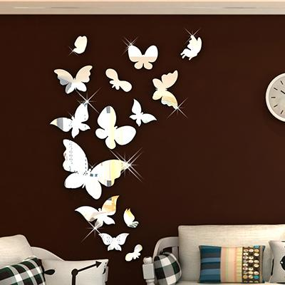 New arrival Mirror butterfly Acrylic 3d mirror wall stickers For kids room Living room DIY art wall decor Background wall decor