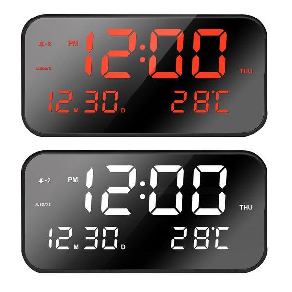 8801 30 sets/lot Cheap 2019 fashion digital LED mirror temperature display table desk clock 3 alarm volume settings