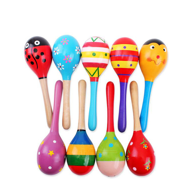 best selling High Quality Baby Sand Hammer 1pc Baby Kid Wooden Ball Toy Sand Hammer Rattle Musical Instrument Percussion Infant