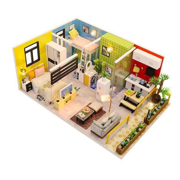 3D DIY Miniature Dollhouse Loft Building Model Wooden Handmade Dollhouses Assemble Kits Doll House with Furnitures Toys