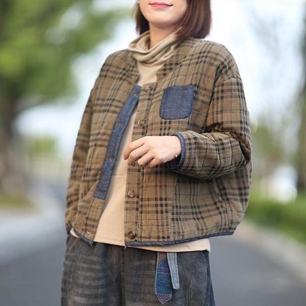 perder chaqueta a cuadros de algodón abrigo de cuello alto de manga larga informal parkas mujer L1396