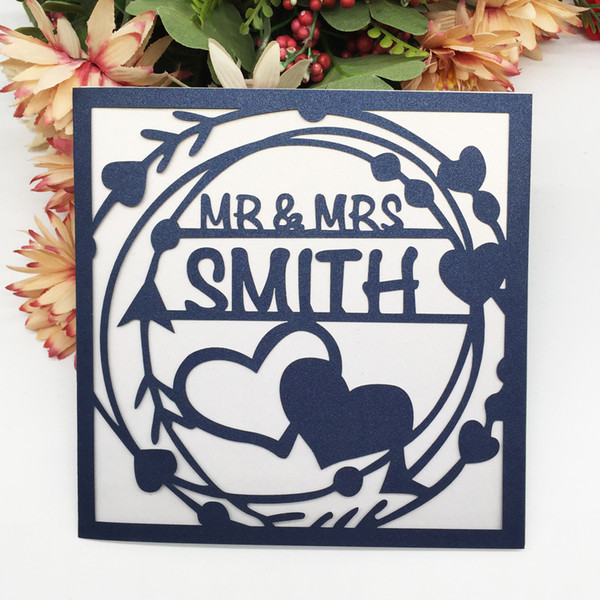 100pcs / lot Personal Custom Envelope Bride And Groom Happiness Wedding Invitation Cards Heart Hollow Laser Cut