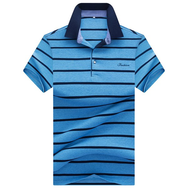 Fashion Tops Summer 2019 Striped Polo Shirt Breathable Short Sleeves Cotton Striped Polo Shirt Men Summer Shirts For Male