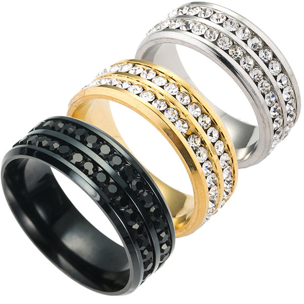 3Colors Double Row Diamond Inserted Couple Stainless Steel Band Rings Wedding Rings for Mens Women Jewelry Wholesale Cheap