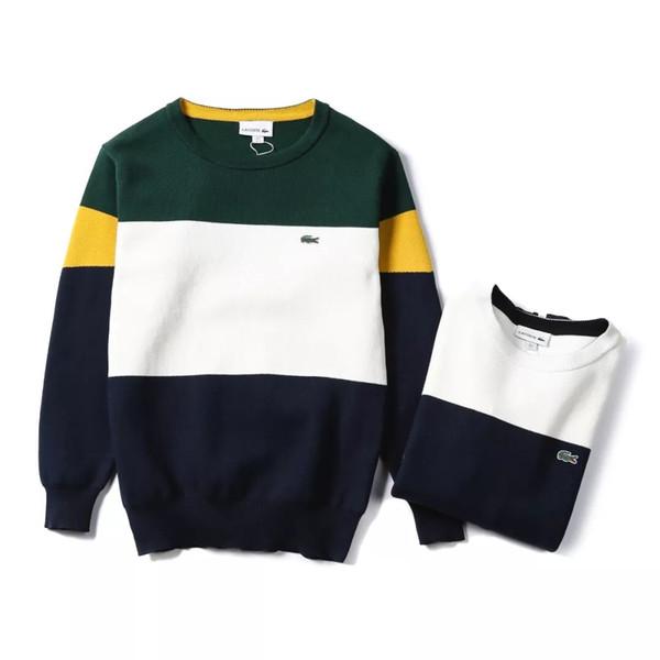 Hommes ras du cou tricot Colorblock plat tricot Pull chandail de laine de coton côtelé Casual Jumper Sweat Pulls Sweats à capuche Outdoor