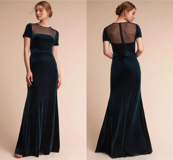 Elegant Dark Green Mother Dresses Short Sleeve Sheer Jewel Neck Mermaid Mother of the Bride Dresses Sheath Formal Wear BC0947