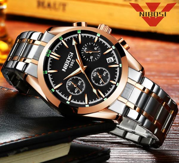 NIBOSI Top Brand Luxury Quartz Watches for Men Watch Relogio Masculino Waterproof Wristwatch Stainless Steel Elegant Rose Gold