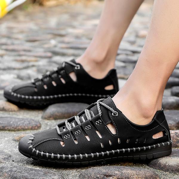 Perimedes verano Hollow zapatos fuera solo para los hombres ocasionales de cuero calzado transpirable playa de la marea alta calidad con hombres sólidos