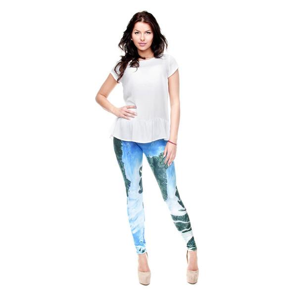 Lady Leggings Archipelago blu 3D digitale pieno stampato confortevole matita ragazza Fitness Runner Yoga pantaloni donna pantaloni casual (Y31162)