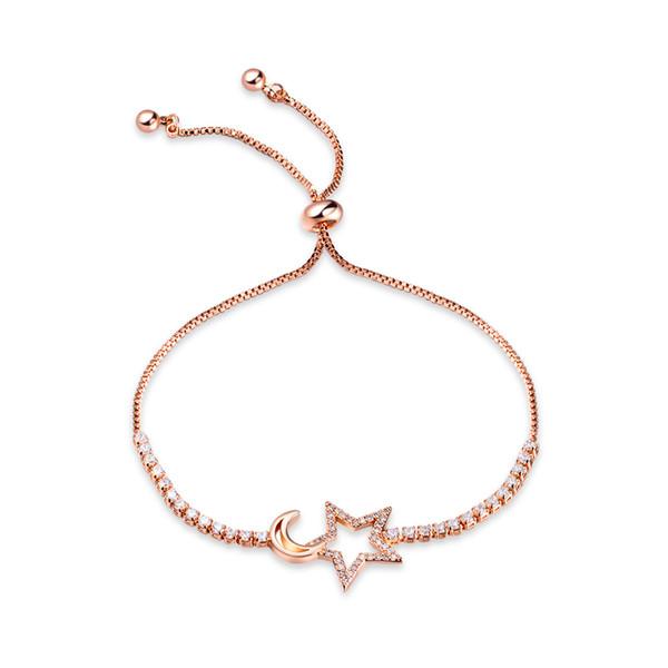 Bracciale a forma di stella in oro rosa con zirconi cubici e catena regolabile per fidanzamento di nozze da donna