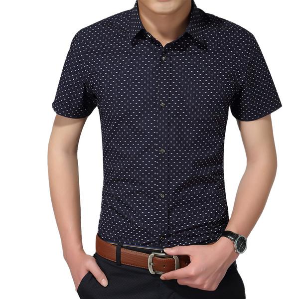 Hot Summer New Fashion Brand Clothing Short Sleeve Polka Dot Slim Fit Shirt 100% Cotton Casual Shirts Men M-5xl Q190514
