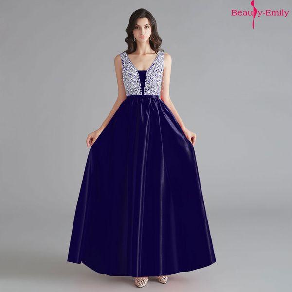 Beauty Emily 2019 V Neck Rhinestones Sleeveless Evening Dresses Customized Open Back Formal Party Dress Vestido de festa longo