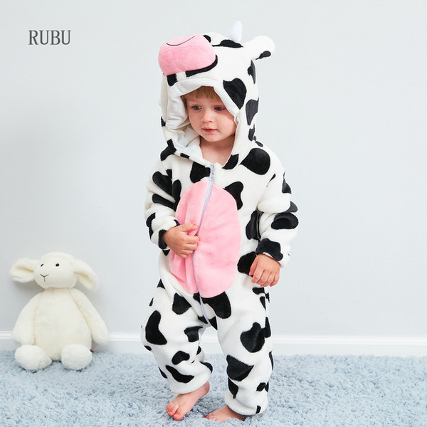 Baby Rompers Boy Girl Pajamas New Born Winter Baby Clothes Kigurumi Kids Onesie Animal Pajamas Stitch Jumpsuit Ropa Bebe Costume J190524