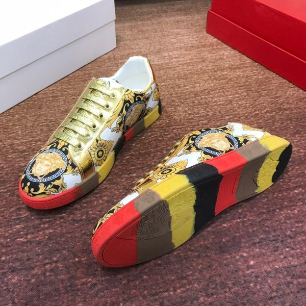 2019P new brand luxury design men's casual shoes, fashion breathable sneakers, comfortable lace men's shoes, original box invoice packaging