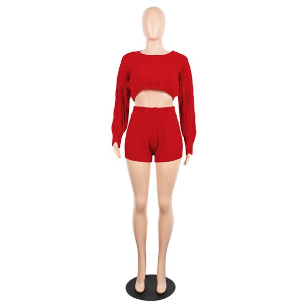 Womens Crop Tops Sweater+Shorts 2018 Soft Warm High Quality Red Two-Piece Elastic Waist Playsuit Size Plus Jumpsuit Romper Set