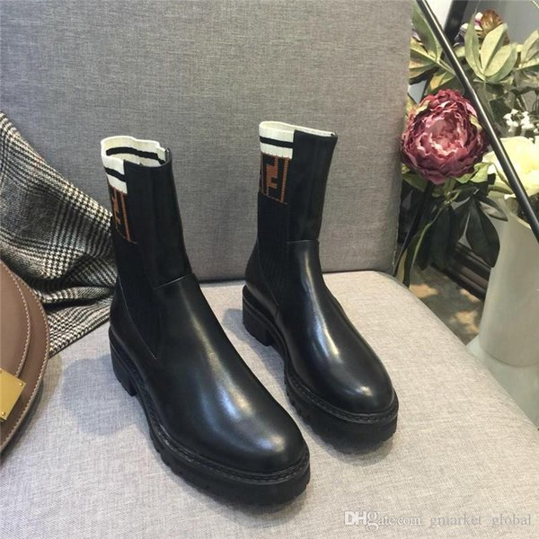 Hot Womens Black leather biker boots Luxury Designer Boot Women Knit Boots Fashion Non-slip rubber sole Size 35-41