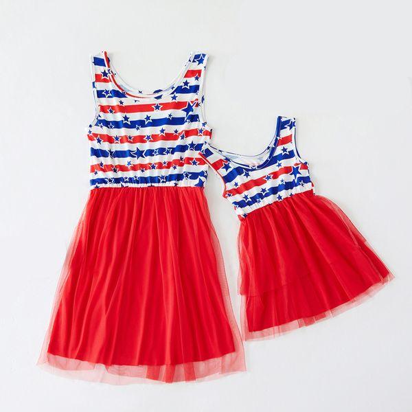 Mamma Kids Star Print Dress Mesh Splice Dress Bandiera americana Independence National Day USA 4 luglio Stripe Family Matching Outfit S-2XL