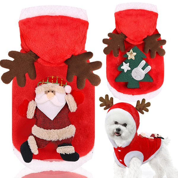 Christmas Dog Clothes Cute Pet Hoodie Winter Clothes Sweatshirt Pet Apparel for Kitty Dogs Chihuahua Santa Costume Xs-xxl