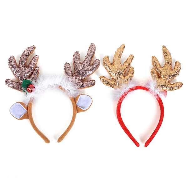 2 Style Xmas Decor DIY Women Girls Christmas Reindeer Deer Big Antlers Costume Ear Party Hair Christmas Headband Ornaments