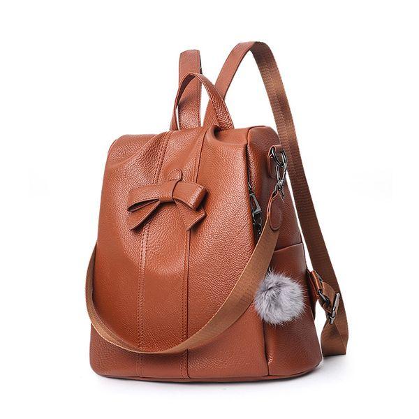 Backpacks For Women 2019 PU Leather Backpack Fashion Female School Bags For Teenage Girl Back Pack Mochila Mujer Brown A124