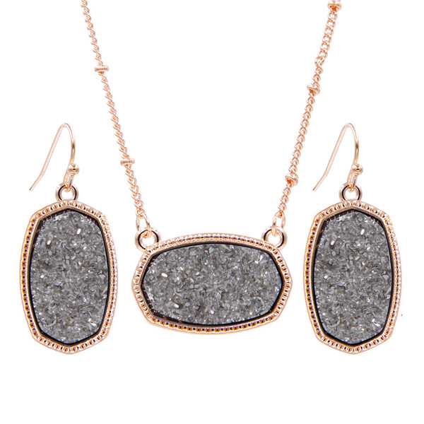 2018 Fall YJX Rose Gold Color Mini Iridescent Drusy Oval Pendant Necklaces With Earrings Jewelry Set Glitter Boutique