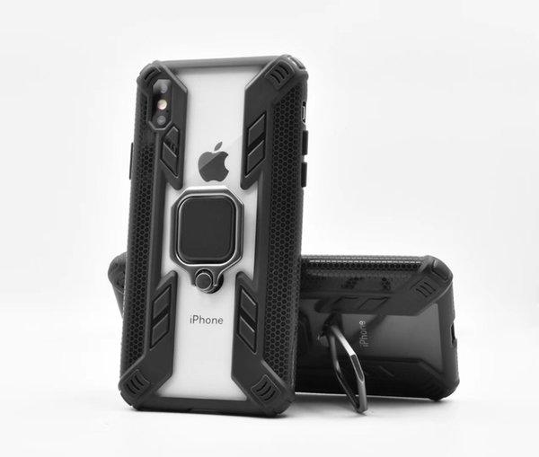Для Apple iPhone XR / 6/7 / 8 / Plus / XS MAX / XI 2019 Кольцо Дело Kickstand Магнитный Автомобильный держатель Прозрачный жесткий PC противоударный защитный мягкий бампер