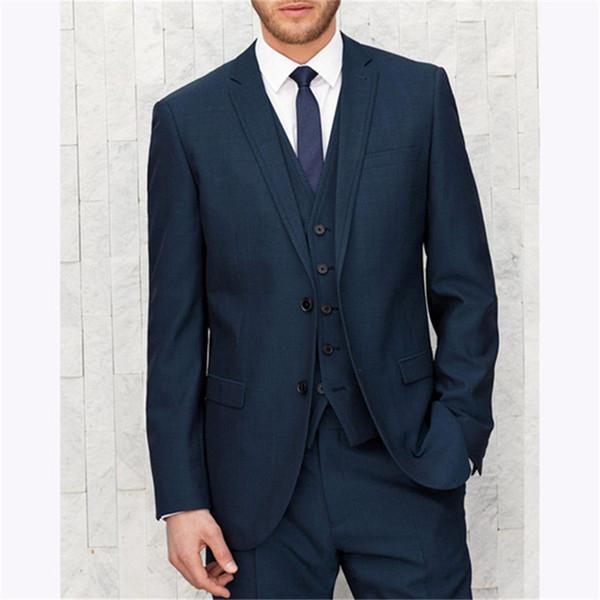 Navy Blue Slim Fit Groom man dress Tuxedo wedding suits For Men 2019 Design mens suit Blazer 3 pieces terno smoking masculino