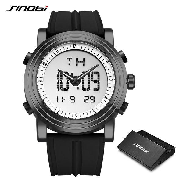 Sinobi Dijital Spor İzle Erkekler Chronograph erkek Bilek Saatler Su Geçirmez Siyah Watchband Erkek Askeri Cenevre Kuvars Saat Y19051603