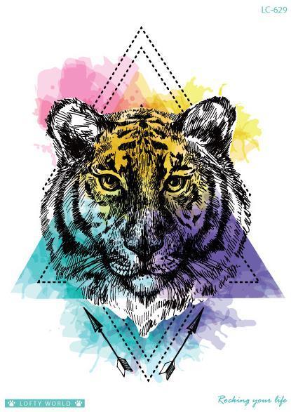 Temporäre Tätowierung Fake Tattoo Aufkleber Tiger Leopard Pfeil Tatouage Flash Tatto Big Size wasserdichte Tätowierungen für Männer Frauen Mädchen