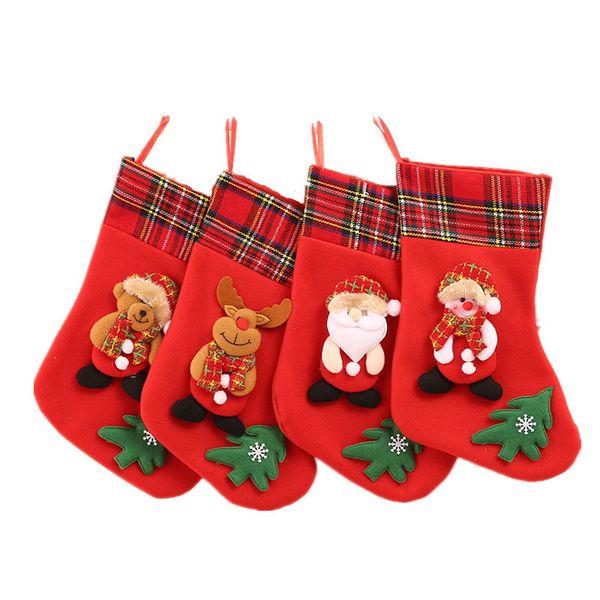 Рождественский чулок Рождество подарок сумка подвесками Детские конфеты мешок Мультфильм Снеговик Санта Лось Медведь носки подарочные пакеты украшения 12 Patterns