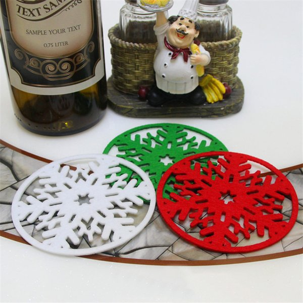10pcs/lot Merry Christmas Decorations Snowflakes Cup Pad Mat Non-woven Fabric Dinner Party Dish Tray Coffee Pads Home Navidad