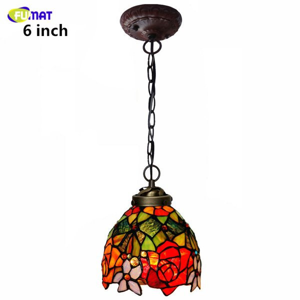 Fumat Stained Glass Pendant Lamp Rose Lamp Shade Glass Light For Living Room Dining Room Glass Creative Deco Led Pendant Lights Pendant Lighting