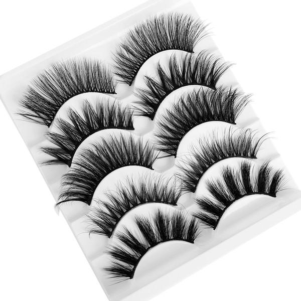 5 pares Mistos Estilos Cílios Postiços 3D Mink Cabelo Wispy Volume Total Natrual Cílios Feathered Ampliado Variedade Pacote Cílios