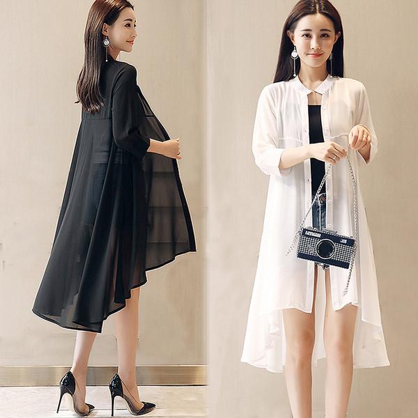 2019 blusa de gasa del verano de las mujeres del collar del soporte tops sueltos blusas más el tamaño de gasa Kimono Cardigan Boho negro camisas blancas SH190629