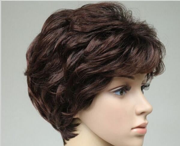 FREE SHIPPING+ + + sexy women@men wig 100% Real Hair short Brown Natural Hair wigs/wig