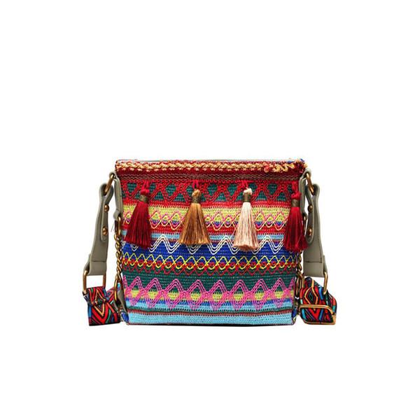 2019 Ins Hot sale Fashion ladies tassel messenger bag Women Handbag National style fringe Messenger Bag Vintage Ladies Flap